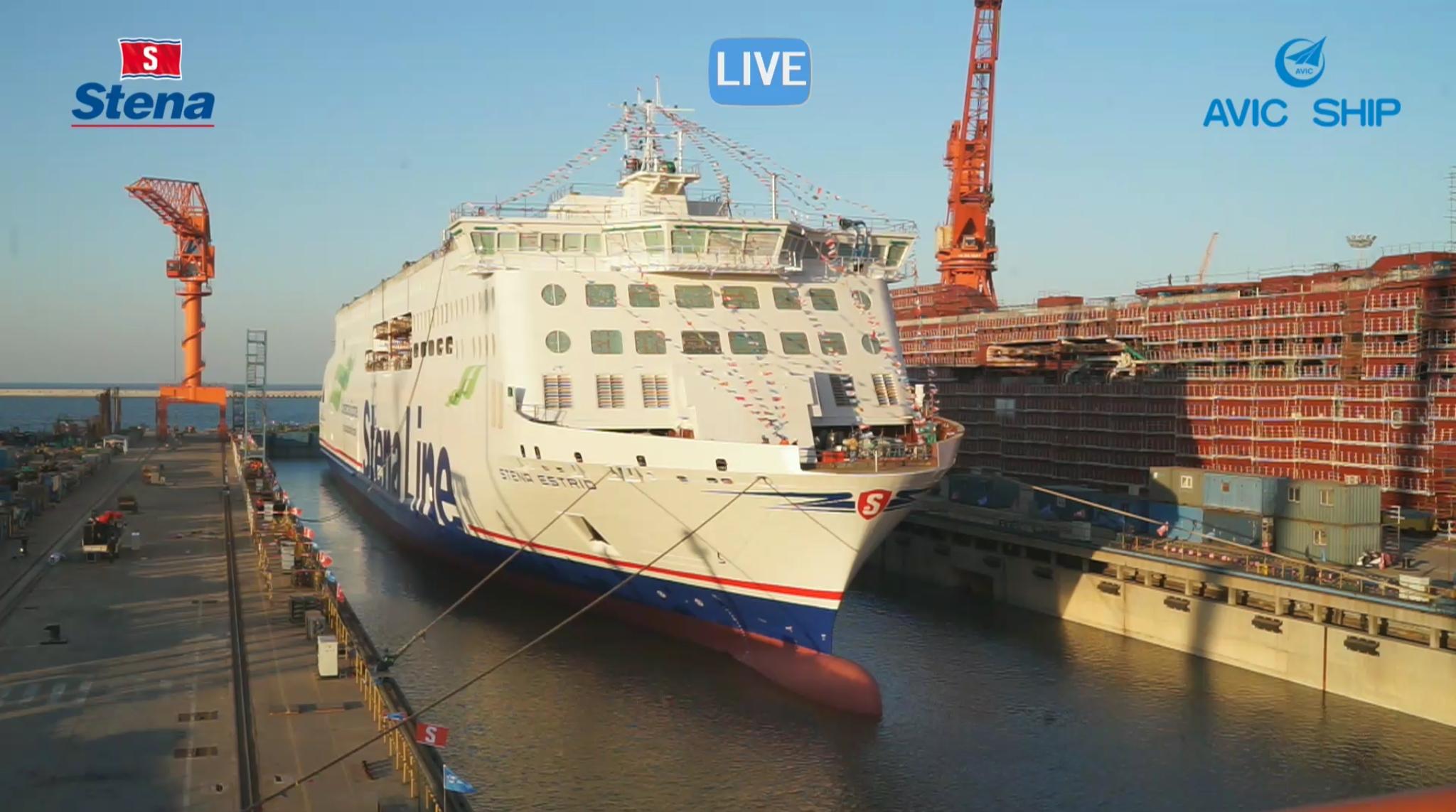 The first Stena E-Flexer, STENA ESTRID, prepares to leave the building dock at AVIC Weihai. Stena Ab / AVIC Weihai.