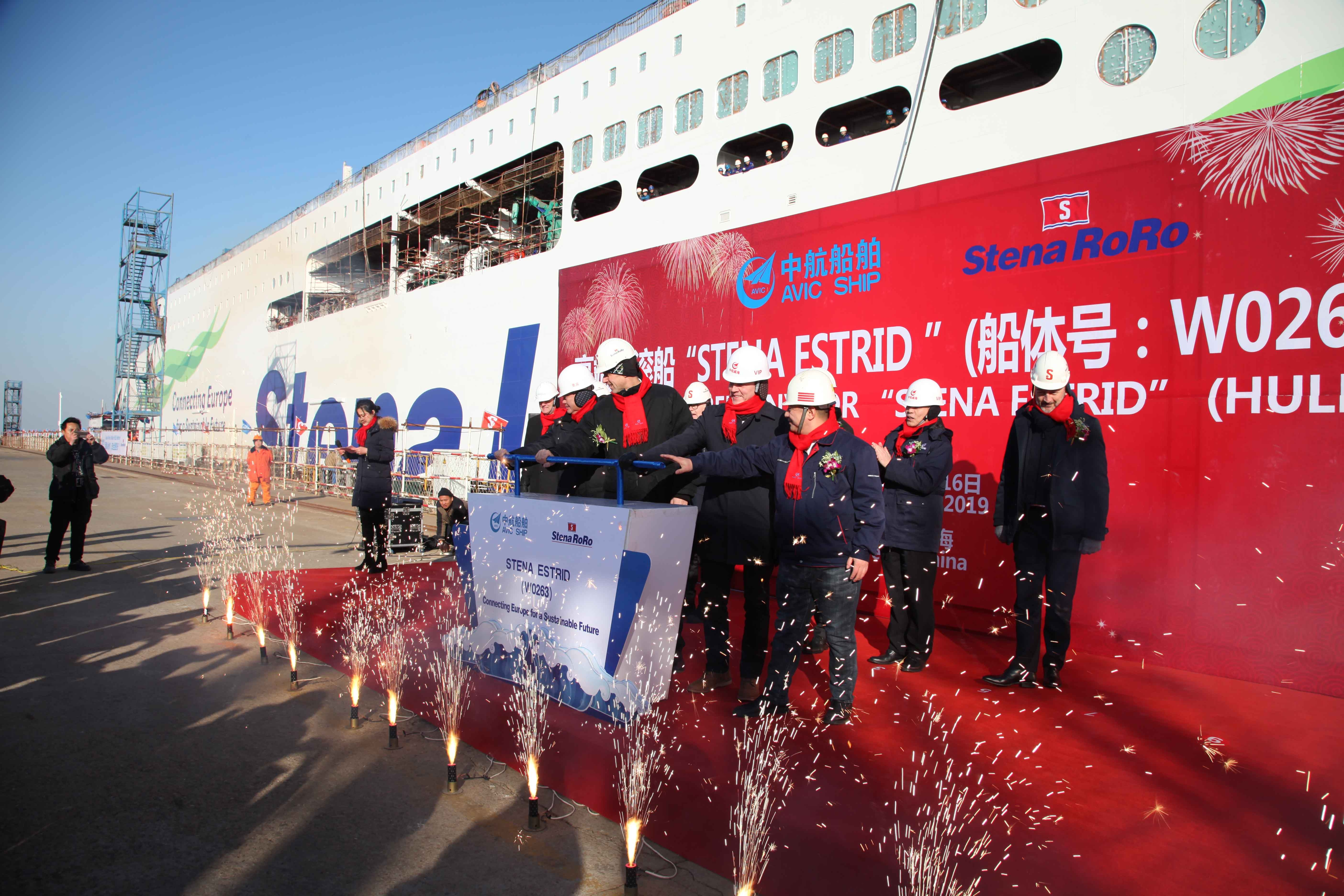 The first E-Flexer, named Stena Estrid, just prior to launch on January 16th 2019. Stena RoRo.