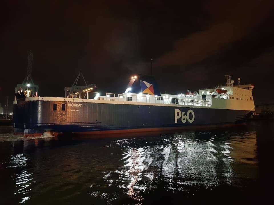 P&O Ferries NORBAY arrives in Dublin for the first time following a three-week absence for dry docking in Poland, 23.03.19. Copyright © Robbie Cox.