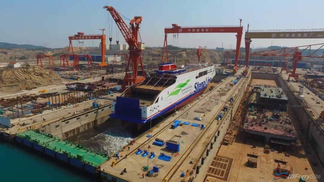 The building dock fills with water as yard number W0264 STENA EDDA is floated out at AVIC Weihai on April 15th 2019. AVIC Ship.