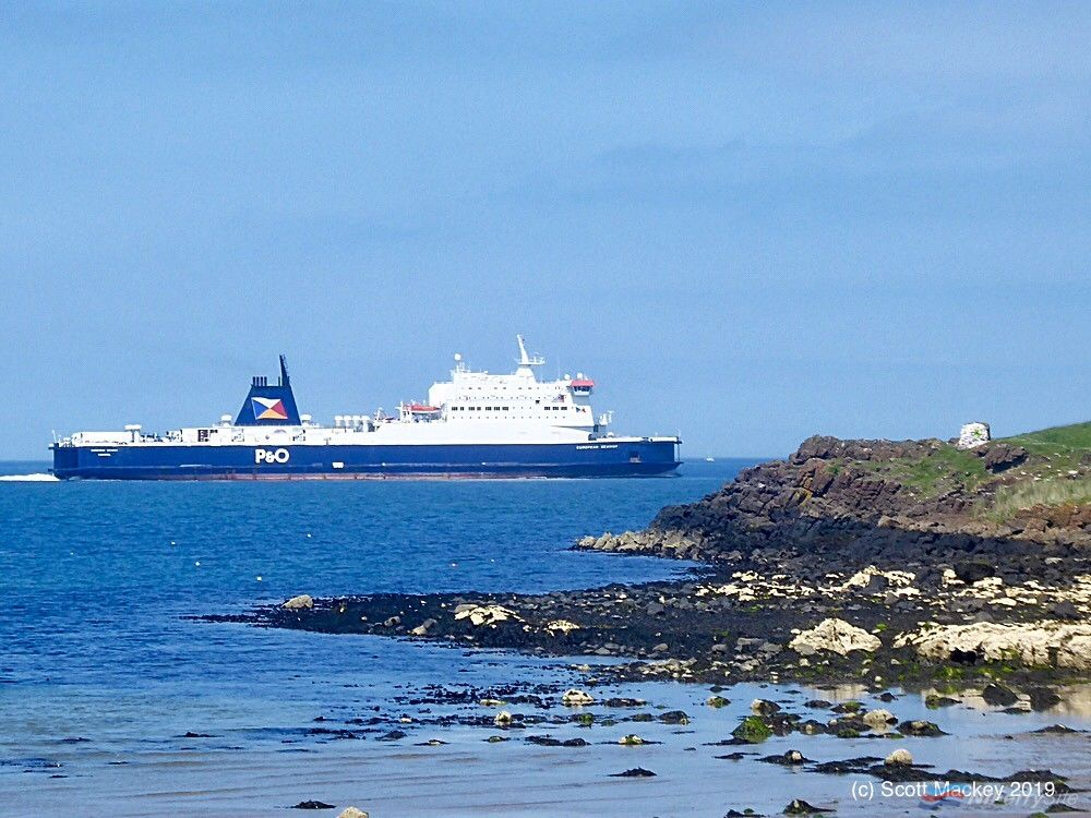 P&O Ferries EUROPEAN SEAWAY in service on the Larne to Cairnryan route during June 2019. Copyright © Scott Mackey.