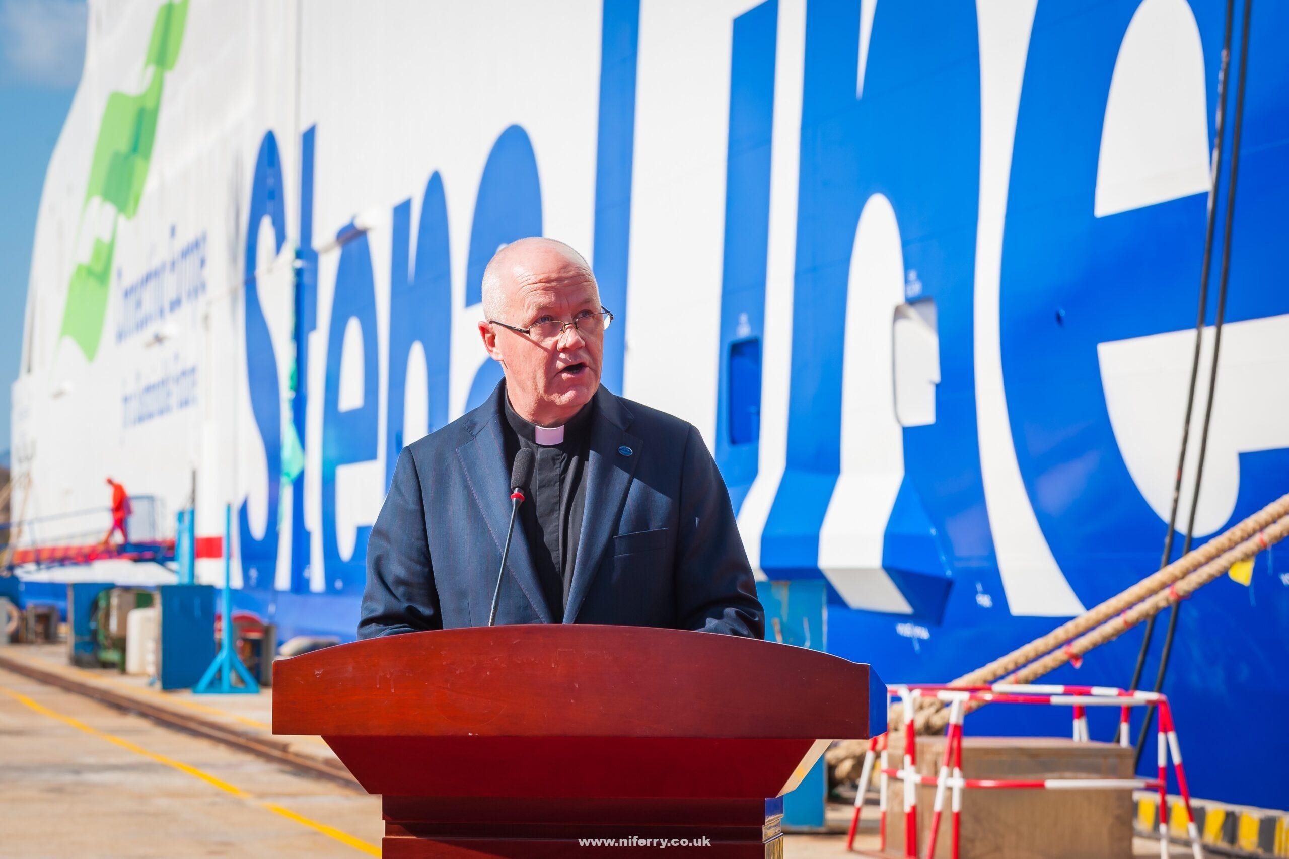 Reverend Cannon Stephen Miller Senior Chaplain at the Mission to Seafarers based in Hong Kong blesses the Stena Estrid. Stena Line