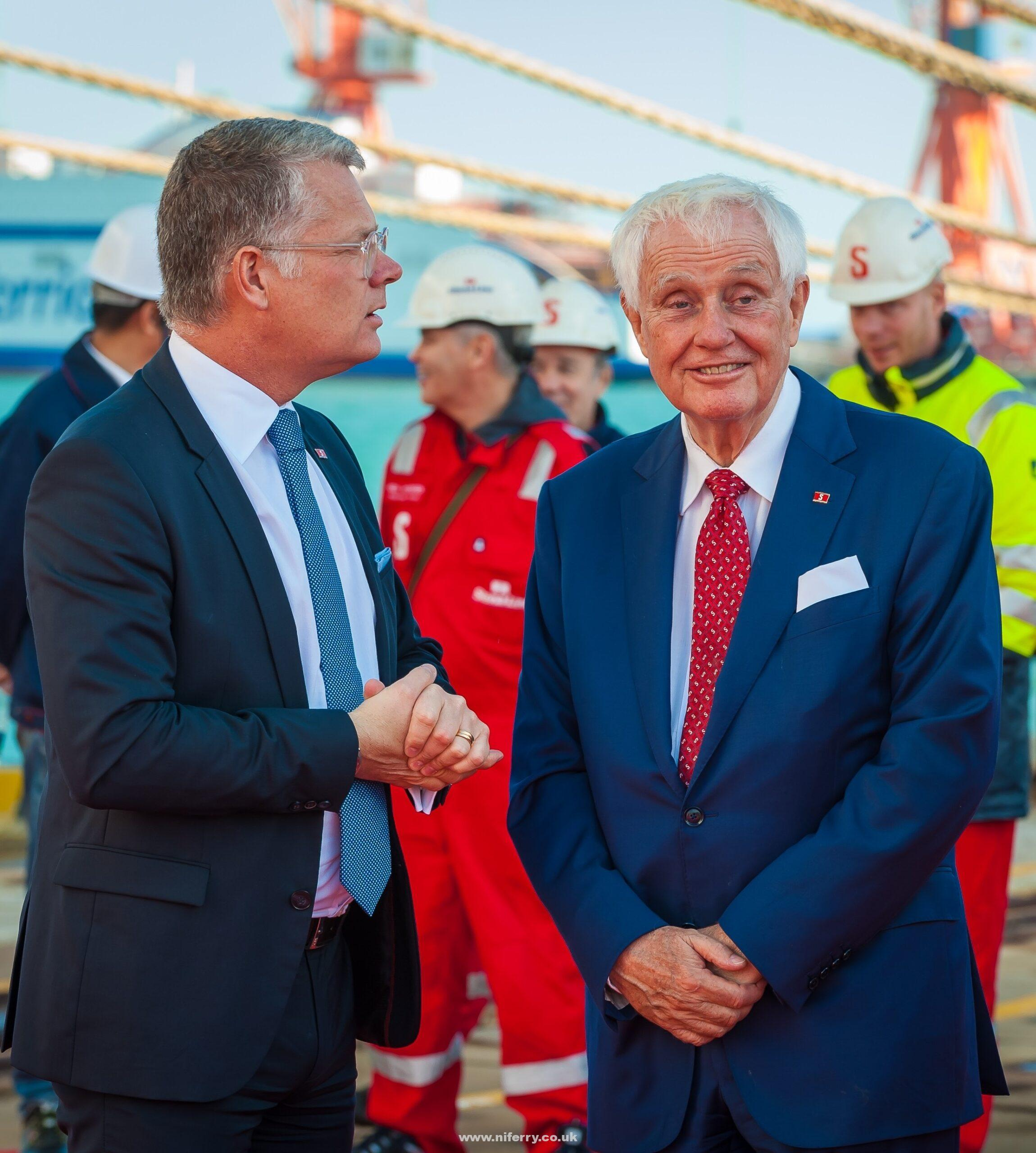 Dan Olsson owner of Stena Line CEO Niclas Martensson at the AVIC Weihai shipyard in China at the signing ceremony for Stena Estrid. Stena Line.