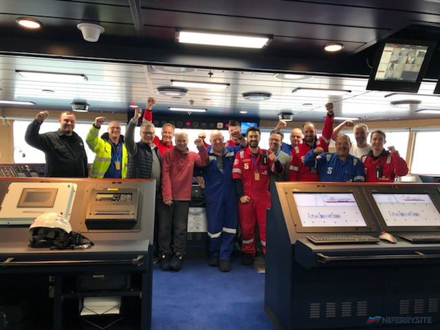 The crew of STENA EDDA on her bridge celebrating the handover of the vessel to Stena Line with CEO Niclas Mårtensson, Senior Master Neil Whittaker and Technical Operations Director Bjarne Koitrand. Stena Line