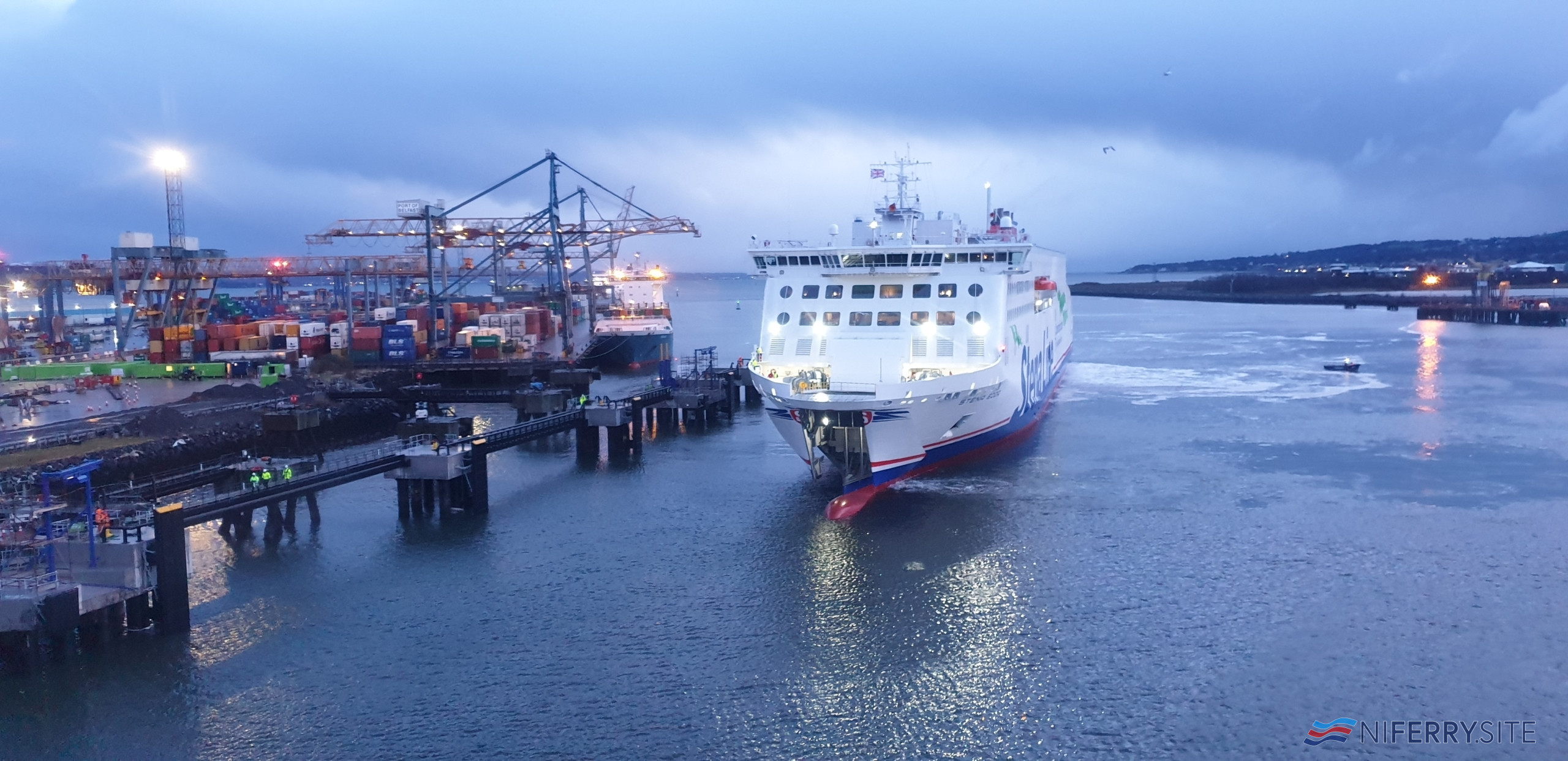STENA EDDA approaches the rebuilt berth at Belfast Victoria Terminal 2. Stena Line.