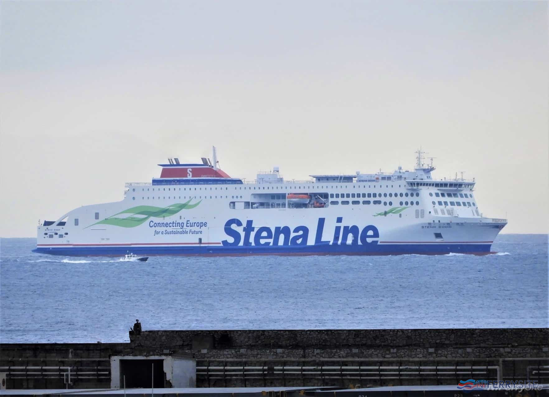 STENA EDDA in the Bay of Gibraltar ahead of her first arrival in Europe at Algeciras Anchorage, 20.02.2020. The stop was to take on bunkers and supplies prior to proceeding to the U.K. on the final leg of her 10,000+ mile journey. Copyright © Tony Davis.