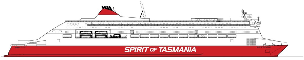 A side profile drawing of the new Spirit of Tasmania ships to be built for TT Line Pty at RMC. Rauma Marine Constructions.