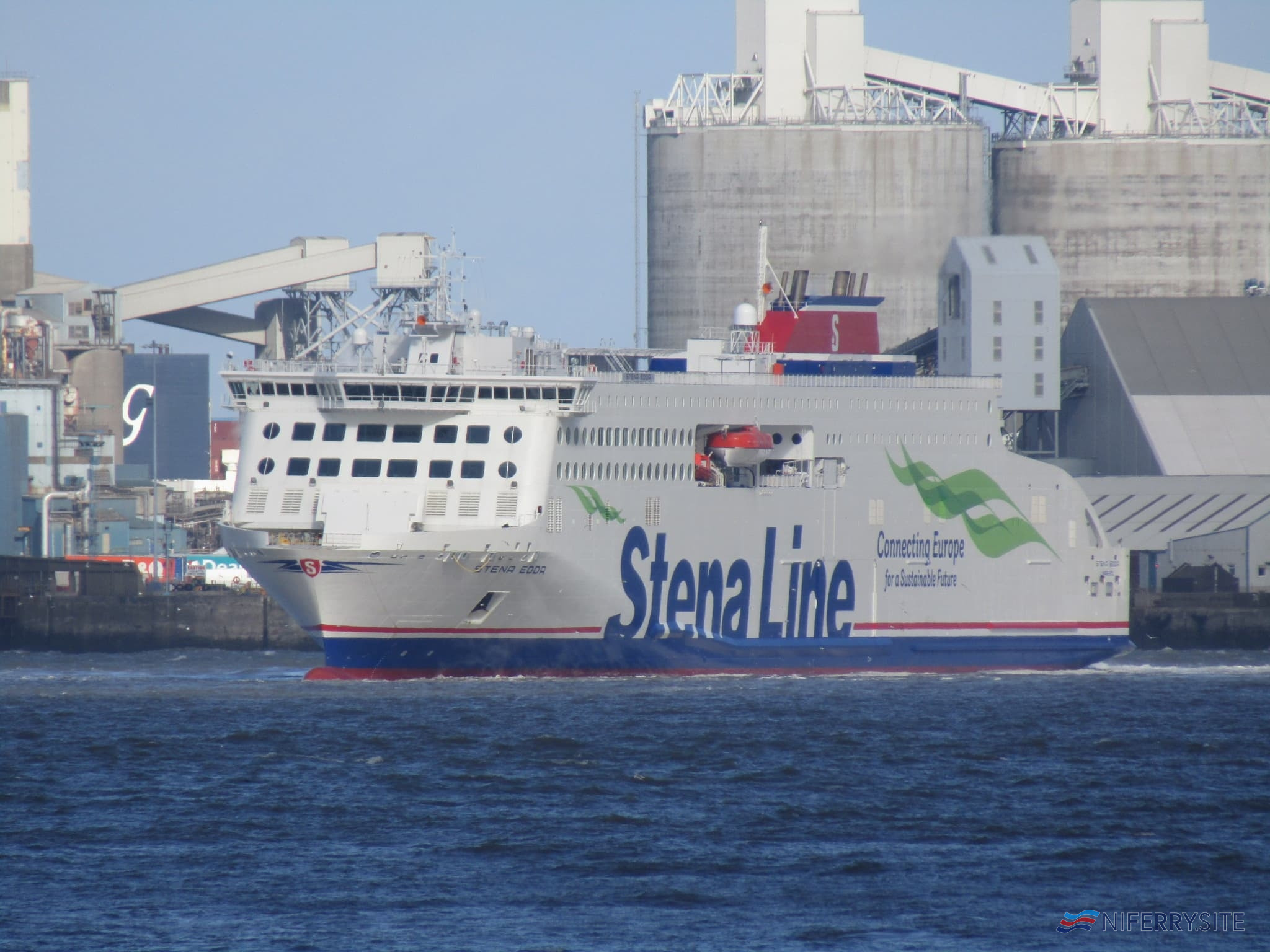 Stena Line's STENA EDDA seen sailing in the River Mersey on 08.03.20. The new ship spent much of the day sailing in and out of her 12 Quays South berth ahead of her introduction to service the following day. Copyright © Rob Foy.