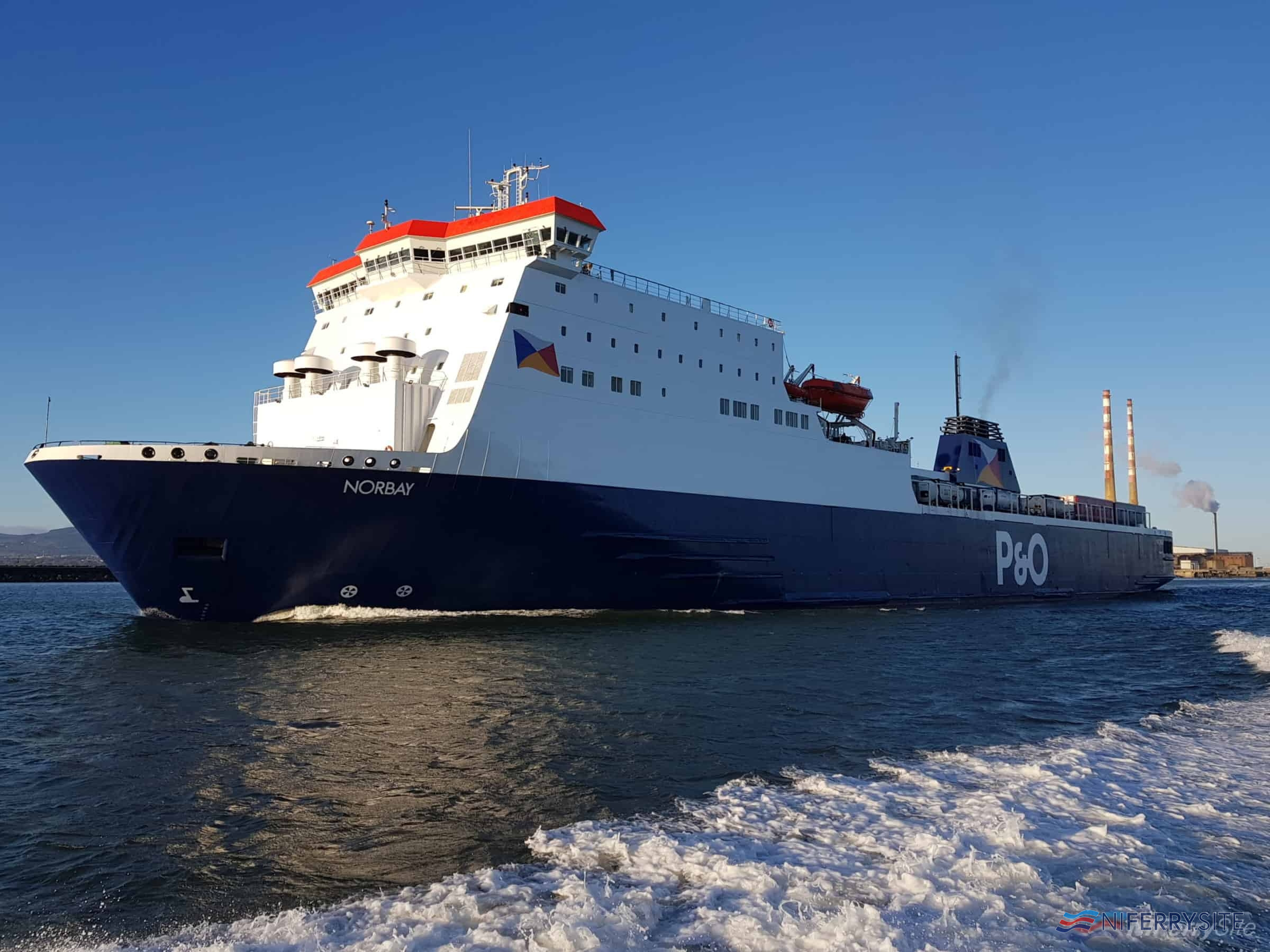 P&O Ferries NORBAY leaves Dublin for Liverpool on her first sailing following a three-week absence for dry docking in Poland, 24.03.19. Copyright © Robbie Cox.