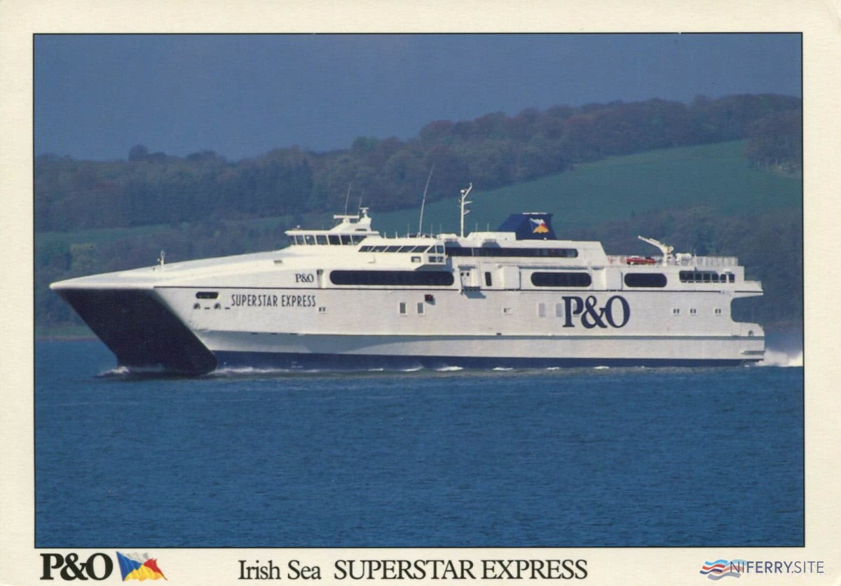 P&O Irish Sea Postcard featuring SUPERSTAR EXPRESS. NIFerry Archive.