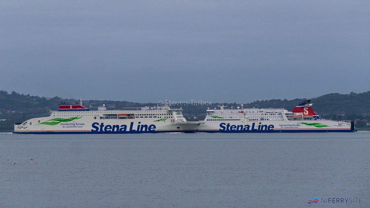 STENA ESTRID and STENA SUPERFAST VIII meet for the first time in Belfast Lough, 10.09.20. Copyright © Steven Tarbox