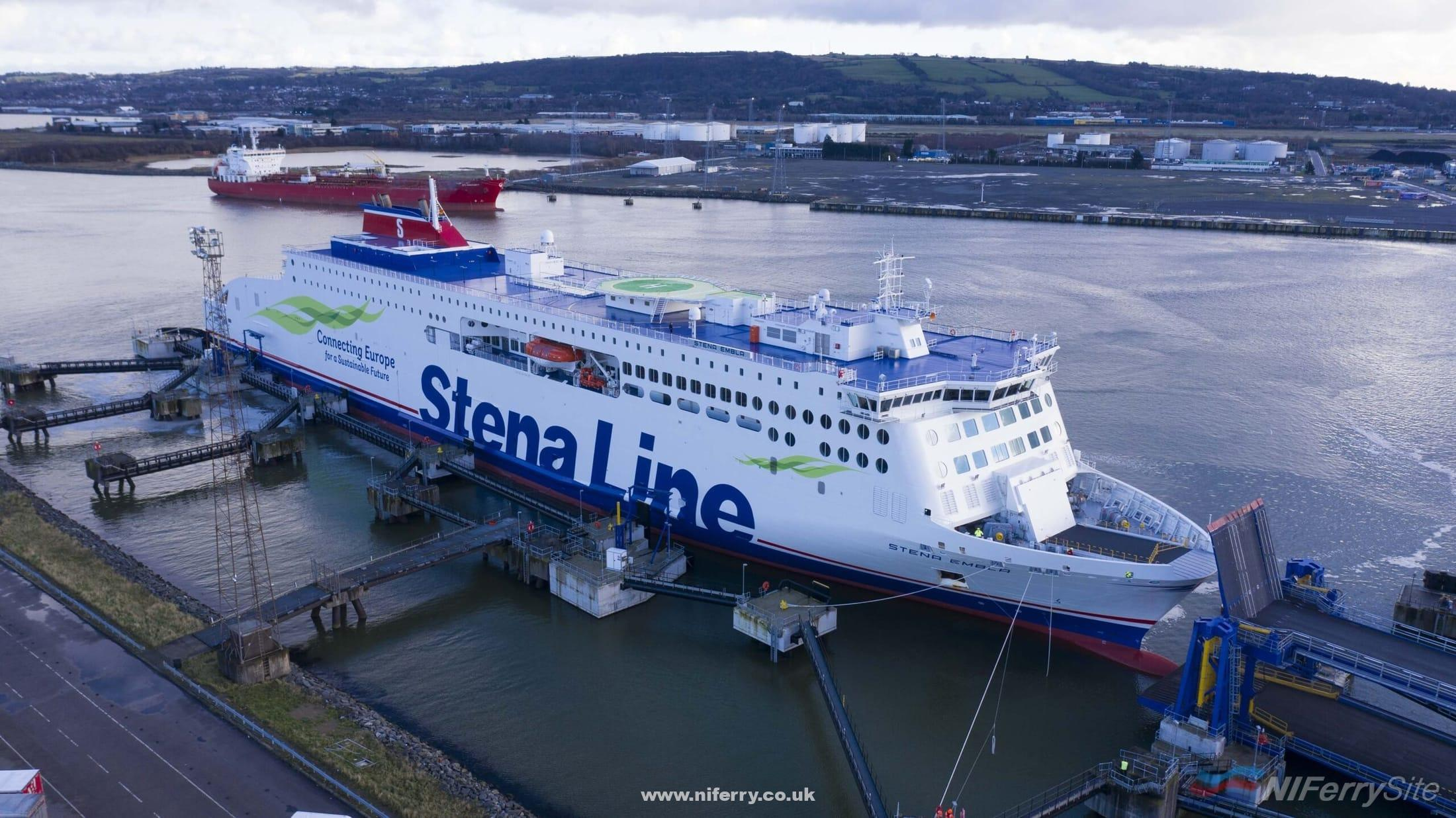 STENA EMBLA arrives at Belfast Victoria Terminal 2 for the first time, 02.01.2021. Stena Line.