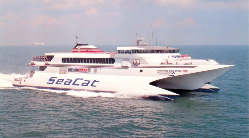 Hoverspeed Great Britain pictured crossing the Dover Strait.