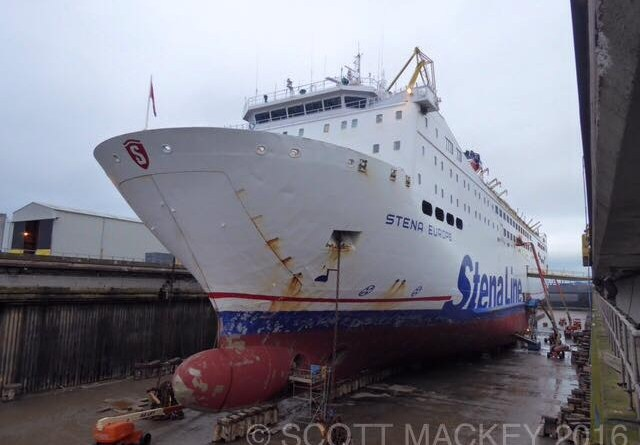 Stena Europe Dry Docked at Harland and Wolff for her 2017 refit 08/01/17. Copyright © Scott Mackey (Flickr).