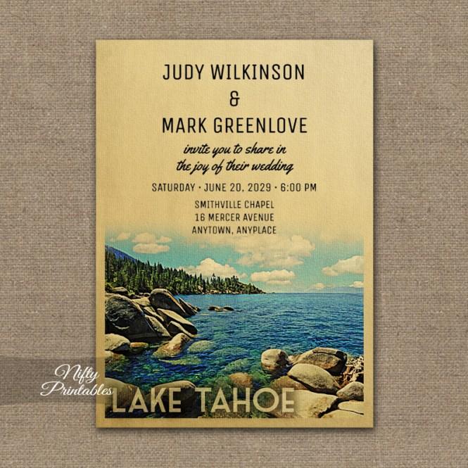 Lake Tahoe Wedding Invitation Printed Nifty Printables