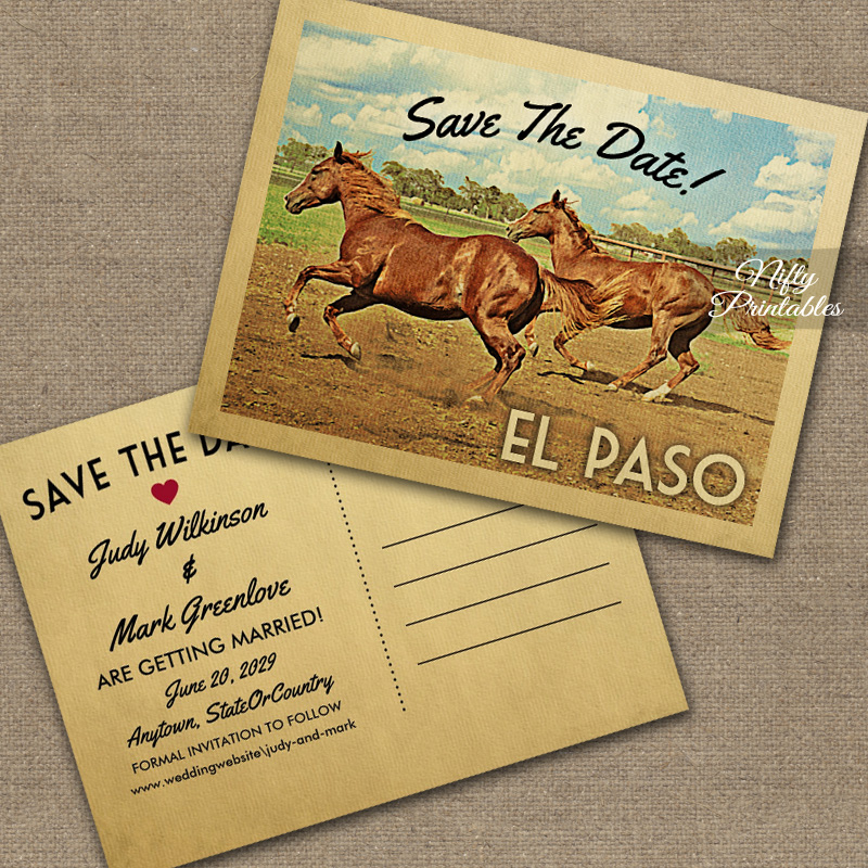 El Paso Texas Save The Date Horses Printed