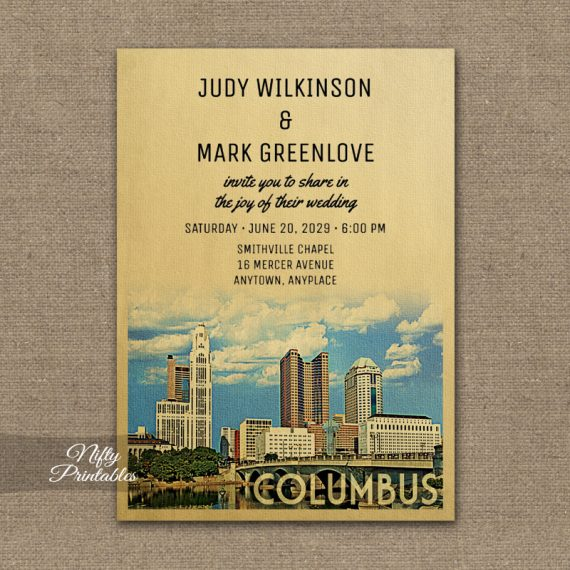Columbus Ohio Wedding Invitation Printed Nifty Printables