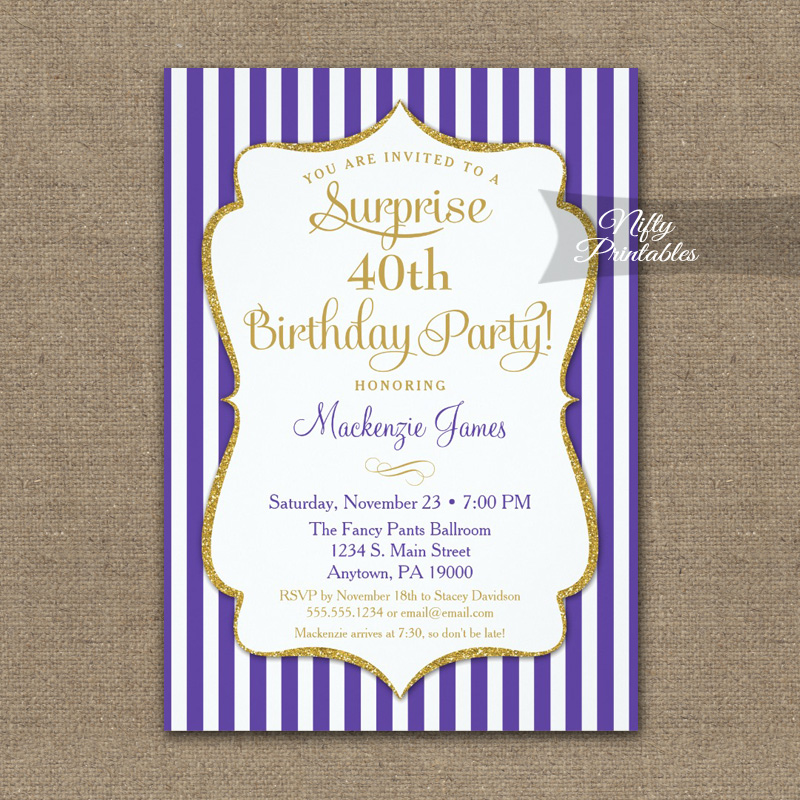 purple gold surprise party invitations