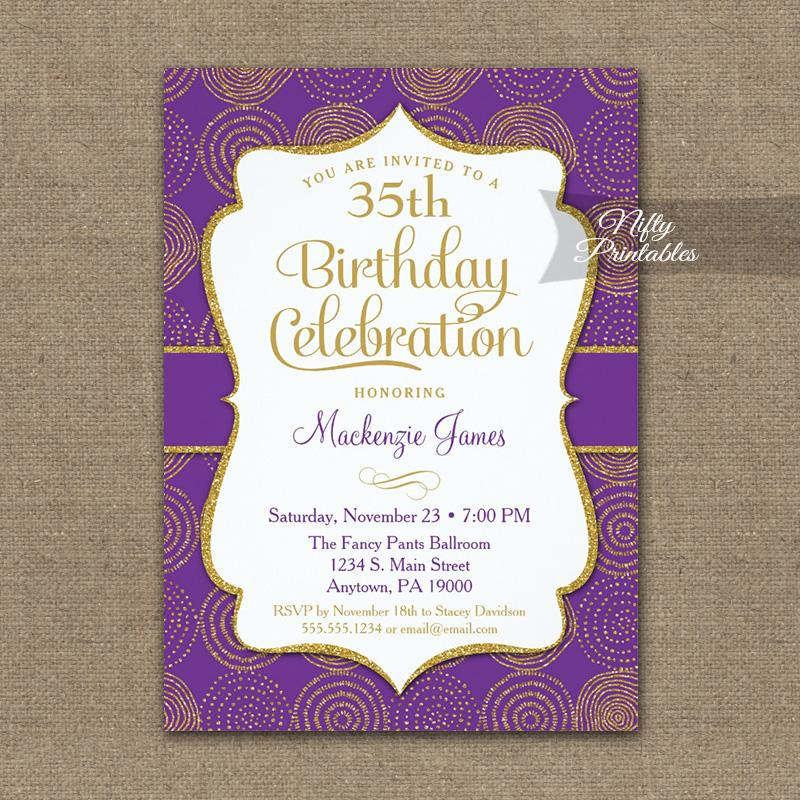 birthday invitations purple gold