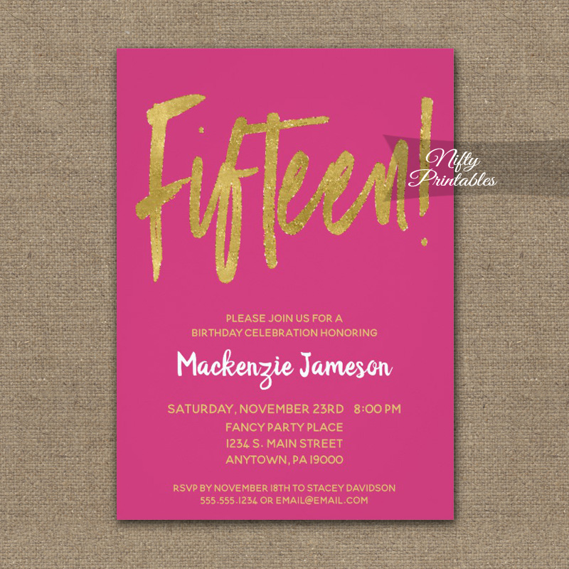 15th birthday invitations hot pink gold