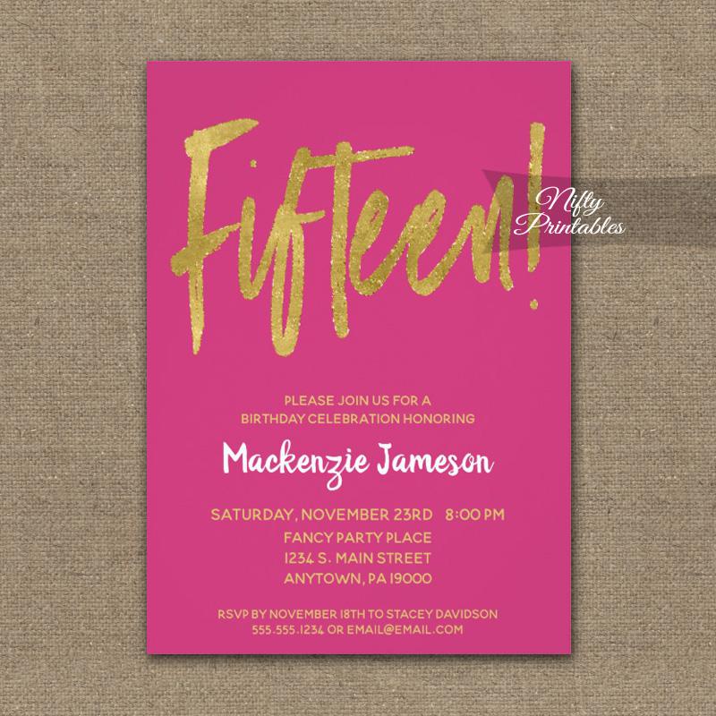 15th birthday invitations hot pink gold