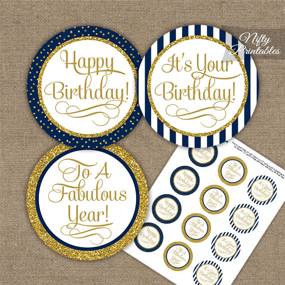 2 Inch Printable Navy And Blues Favor Tags 50th Birthday Cupcake Toppers Stickers Labels Tags Paper Party Supplies