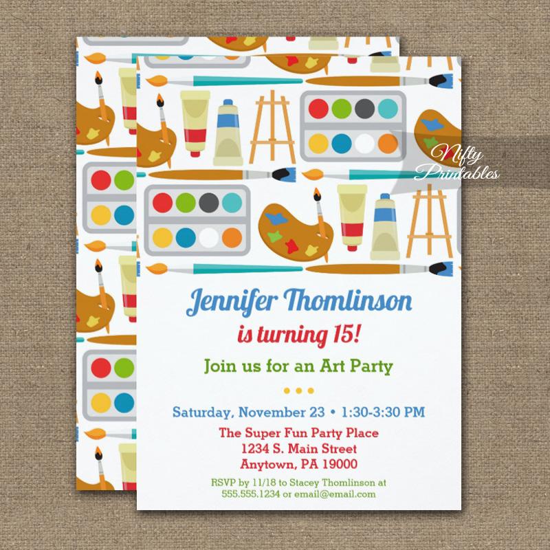 art party birthday invitations painting