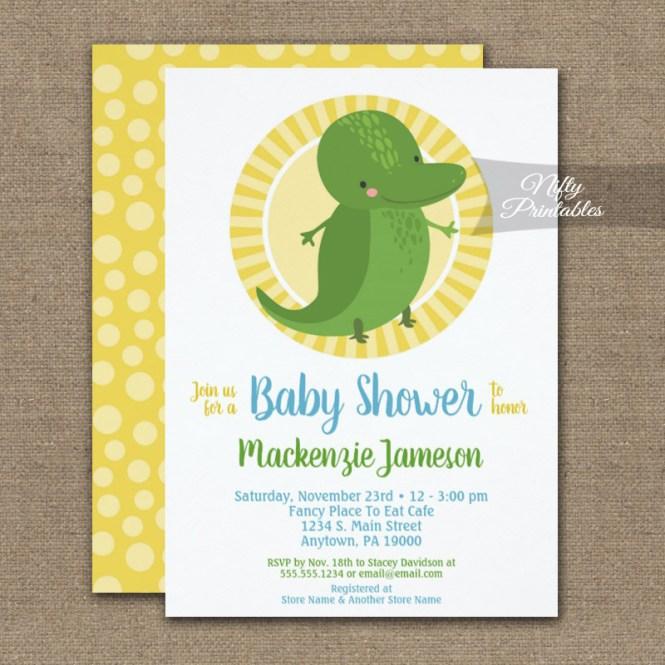 Cute Alligator Neutral Baby Shower Invitation Printed Nifty
