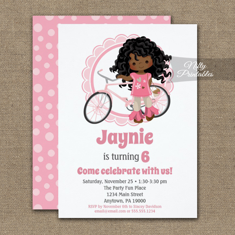 girls bicycle birthday invitations