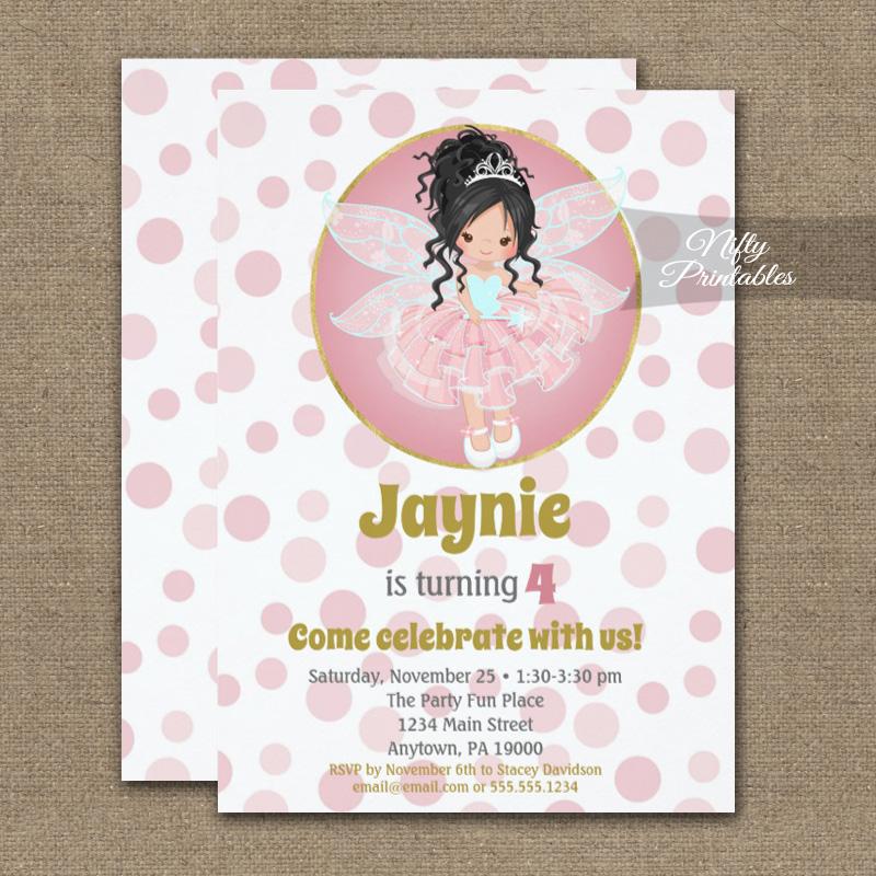 black hair pink fairy girls birthday
