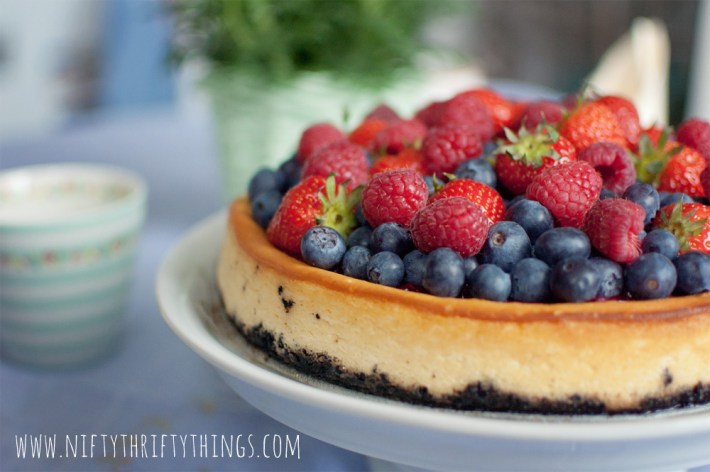 White Chocolate Cheesecake with Fresh Mixed Berries from {nifty thrifty things}