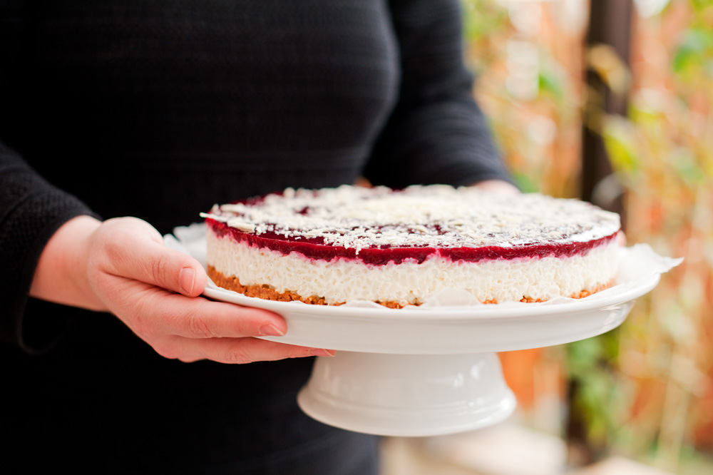 Milchreistorte mit Cranberry-Himbeer-Topping von {nifty thrifty things}