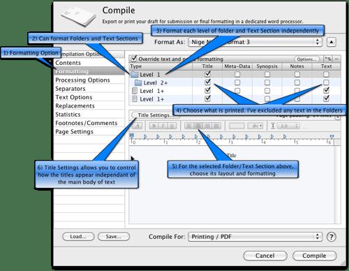Scrivener Compiling Formatting