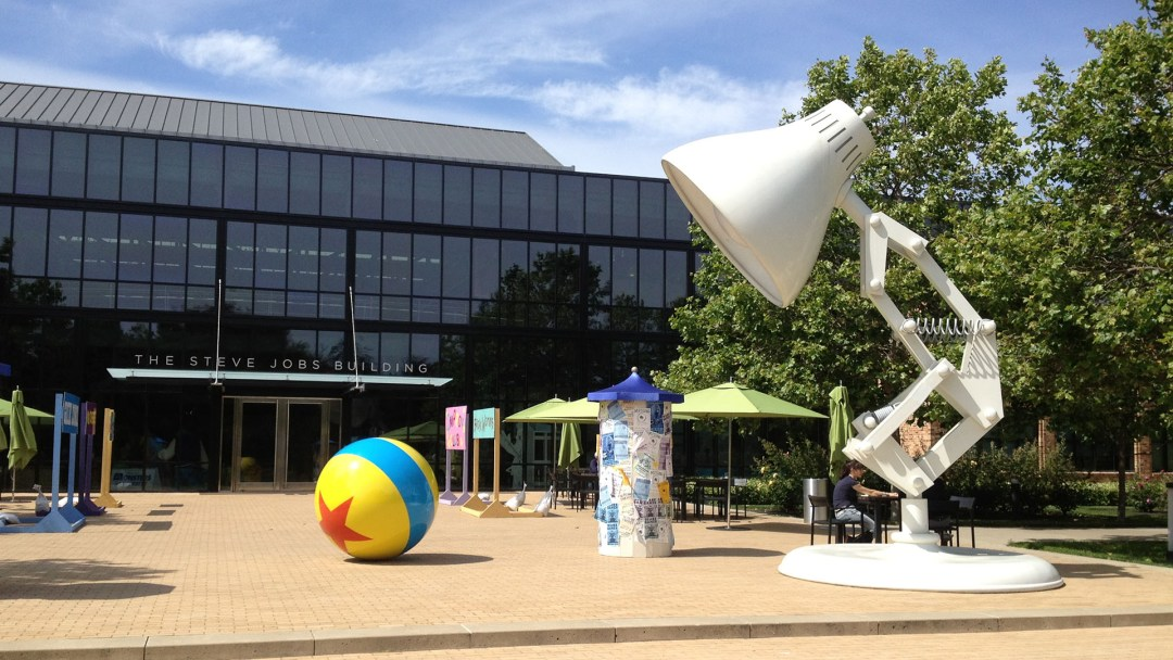 The Pixar Lamp and Ball outside the Steve Jobs Building at Pixar Animation Studios