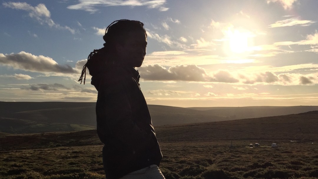 Silhouette of presenter Nigel Clarke on set of 'The Good Dinosaur - Access All Areas' Filmed in Dartmoor