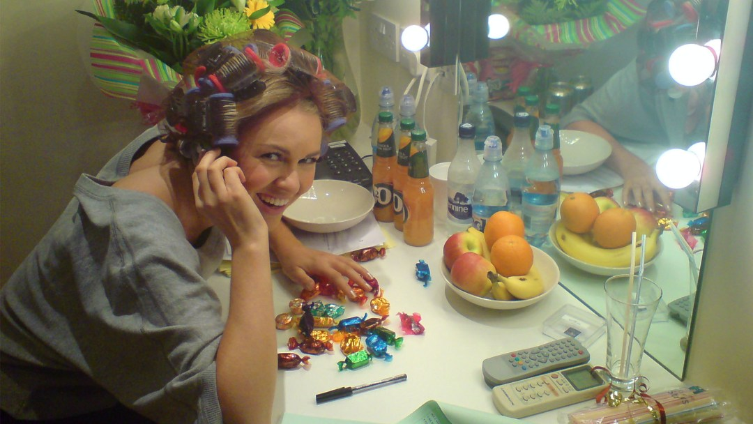 Zoe Salmon the Chocolate fiend - take while filming Citv's Skillicious (2009)