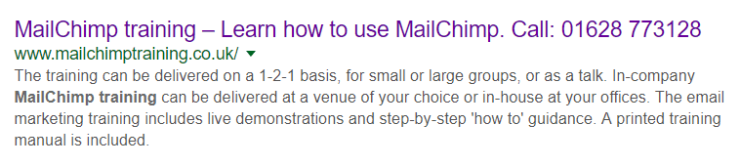 SERP page 1 for MailChimp training