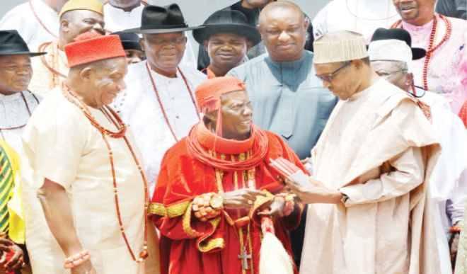 Ohworode of Olomu with President Muhammadu Buhari