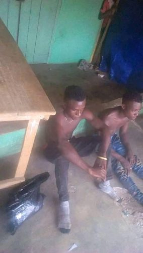 The suspected Yahoo Boys caught at Umutu, Delta State on Wednesday