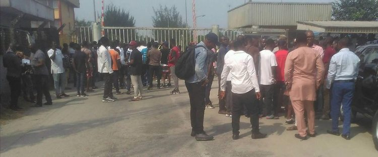 Youths protesting relocation of Nigerian Gas Company from Delta State