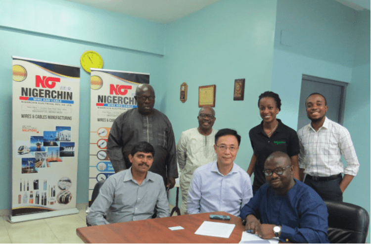L-R: SunilkumarCheringal, General Manger; Duru Gerald, Admin Manager; John To, Director; Mudiaga Isaac Obajuwana, Sales/ Marketing Manager (NIGERCHIN); Mojola Ola, Head Building Partner Projects; Viviane Mike-Eze, Marketing Communications Manager;  & Promise Abiahu, Electricians Programme Coordinator (Schneider Electric Anglophone West Africa).