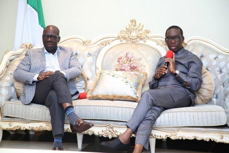 Delta state Governor, Senator Ifeanyi Okowa (right) and the Governor of Edo State, Godwin Obaseki, during the visit of Governor Obaseki, in Government House Asaba, Delta State. PHOTO: GOVERNMENT HOUSE