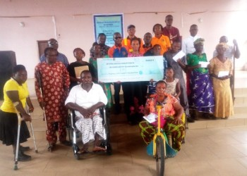 Some members of the Joint National Association of Persons With Disabilities (JONAPWD) who benefited from PLCF's gesture