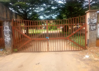 Entrance to the federal secretariat in Asaba under lock and key