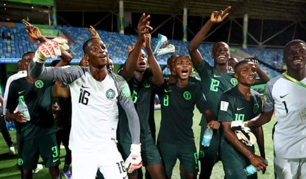 Golden Eaglets celebrating their victory after beating Ecuador in a thriller encounter on Tuesday