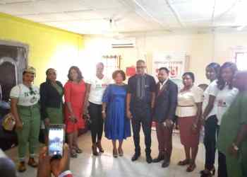 Delta State Commissioner for Culture and Tourism, Engr. Lawrence Ejiofor flanked by the officials of NYSC and the promoters of the movie