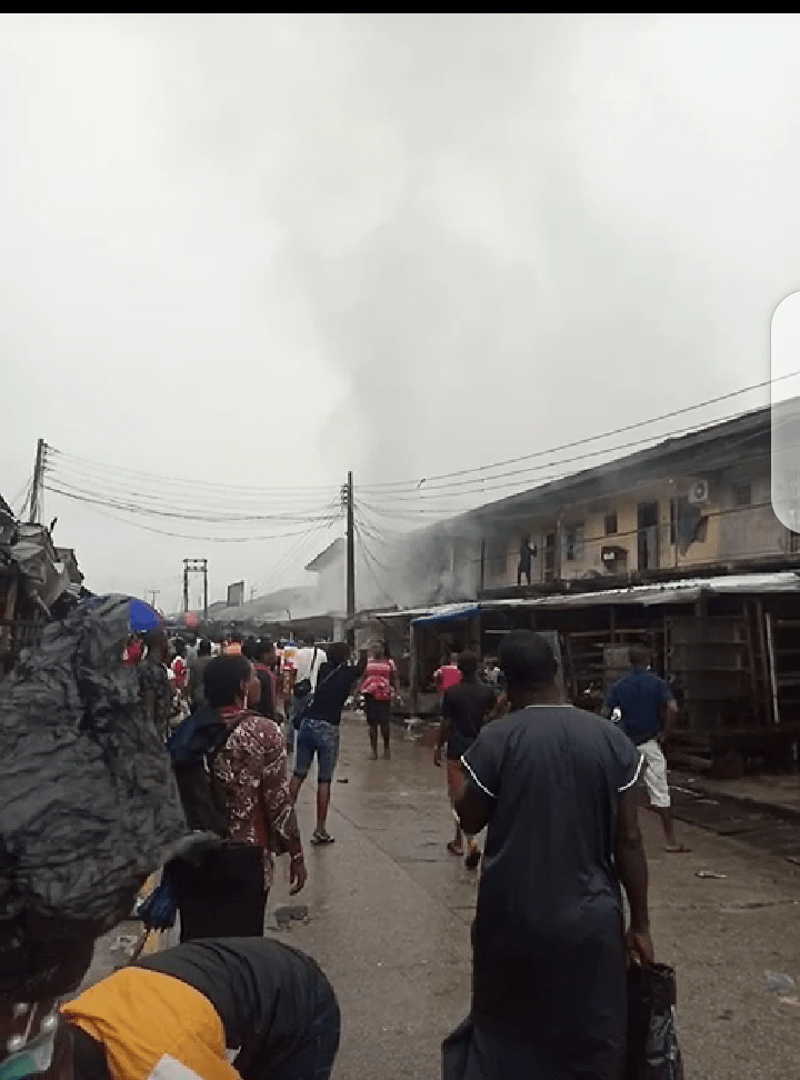 Section of Igbudu market where there was fire outbreak