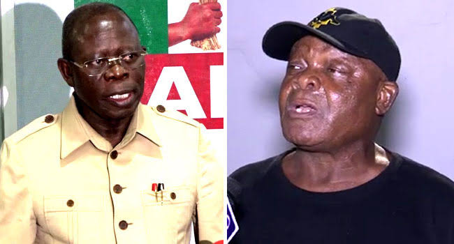 Comrade Adams Oshiomhole and Stephen Oshawo