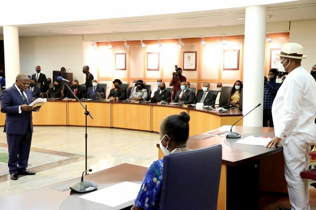 New Rivers Chief Judge being sworn in by Governor Nyesom Wike on Wednesday at the Government House Port Harcourt