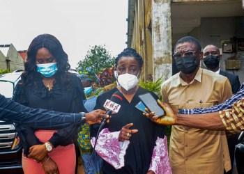 Photo: Mrs. Obaseki (middle) flanked by Dep. Gov. Philip Shaibu and wife, Marian